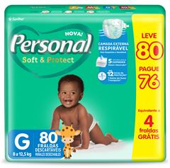 FRALDA HIPER G LEVE 80 E PAGUE 76 PERSONAL BABY
