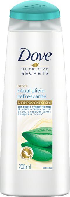 SHAMPOO ANTICASPA COM BABOSA E VINAGRE DE MAÇÃ DOVE NUTRITIVE SECRETS RITUAL ALÍVIO REFRESCANTE